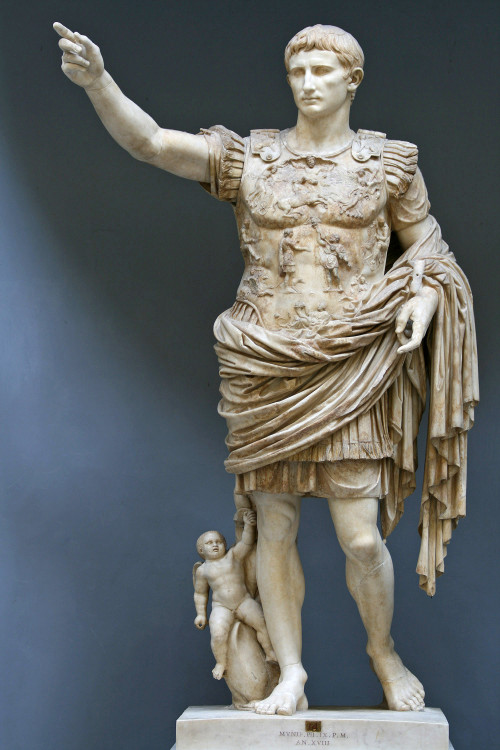 Statue of Augustus from the villa of Livia, his widow, at Primaporta, Italy, now on display at the Vatican.